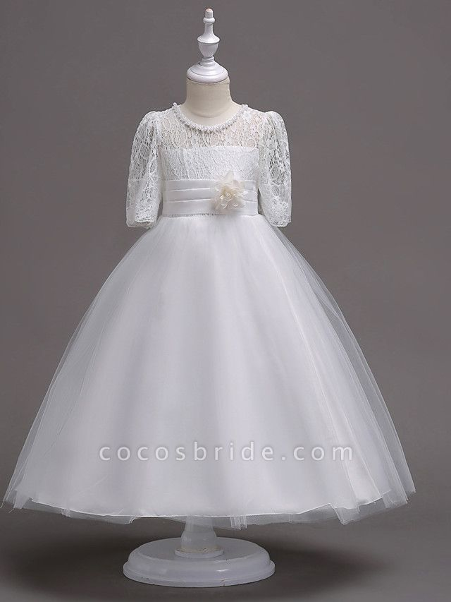 Princess Tea Length Wedding / First Communion Flower Girl Dresses - Lace / Satin / Tulle Half Sleeve Jewel Neck With Lace / Belt / Beading