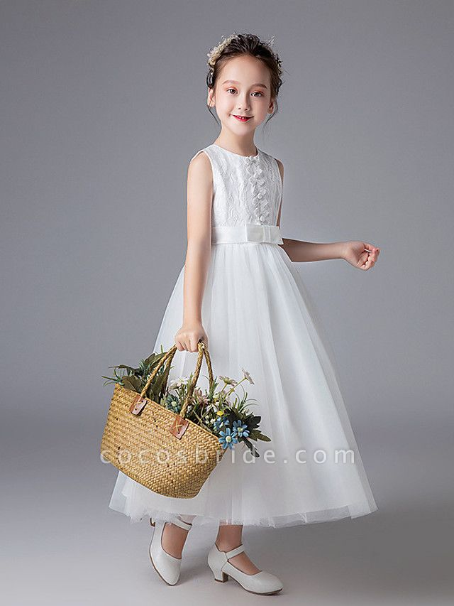 Princess Floor Length Wedding / First Communion Flower Girl Dresses - Polyester Sleeveless Jewel Neck With Lace / Sash / Ribbon / Solid
