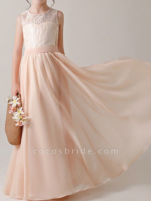 A-Line Floor Length Pageant Flower Girl Dresses - Cotton Sleeveless Jewel Neck With Lace / Sash / Ribbon