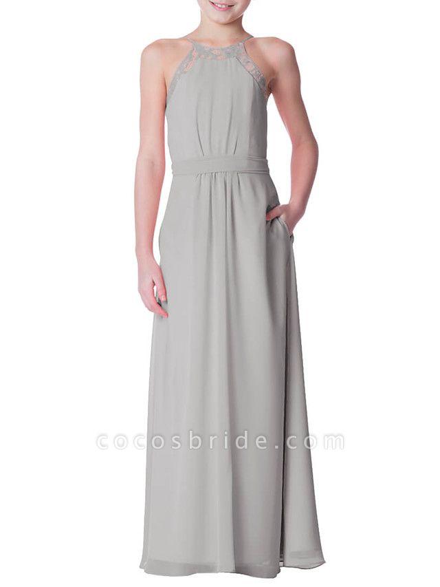 A-Line Crew Neck Floor Length Chiffon Junior Bridesmaid Dress With Bandage