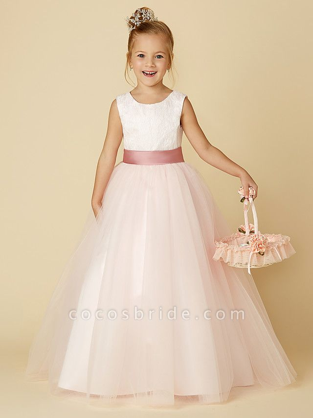 Princess Floor Length Wedding / Birthday / Pageant Flower Girl Dresses - Satin / Tulle Sleeveless Jewel Neck With Lace / Appliques