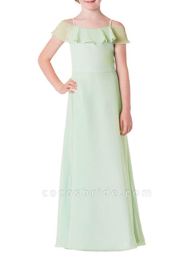 A-Line Spaghetti Strap Floor Length Chiffon Junior Bridesmaid Dress With Ruffles