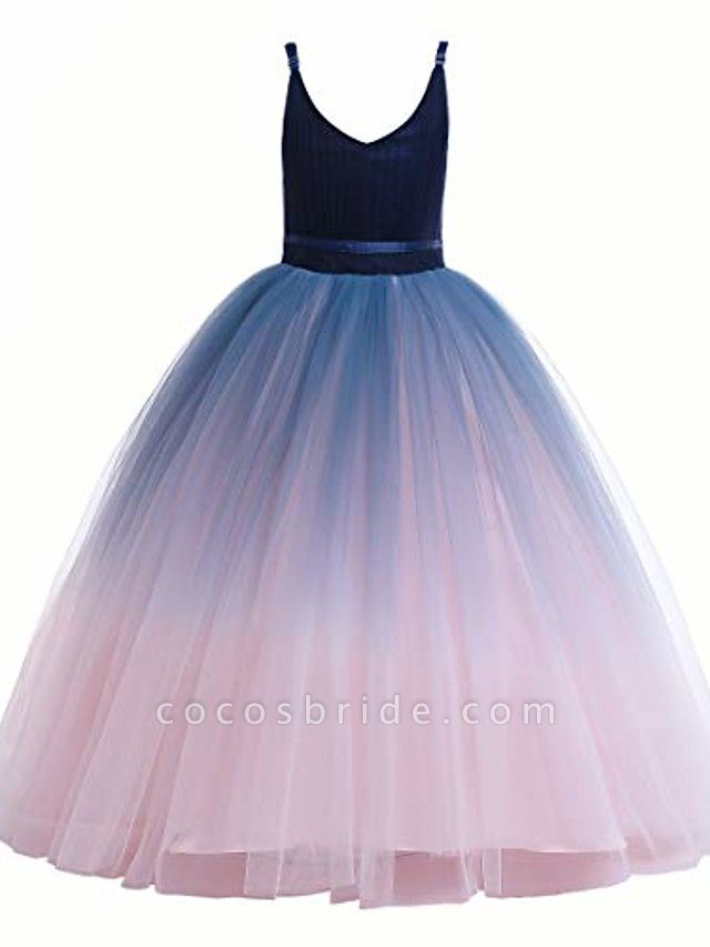 Girls Lace Bridesmaid Dress Long A Line Wedding Pageant Dresses Flower Girls Princess Ombre Tulle Party Gown Age 3-16Y &Amp; # 40; 3T - 4T, V-Navy Blue&Amp; Blush Pink&Amp;;
