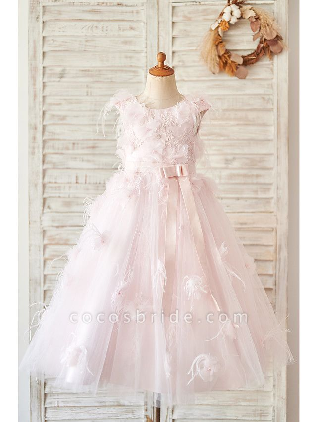 Ball Gown Tea Length Wedding / Birthday Flower Girl Dresses - Satin / Tulle Sleeveless Jewel Neck With Feathers / Fur / Lace / Belt