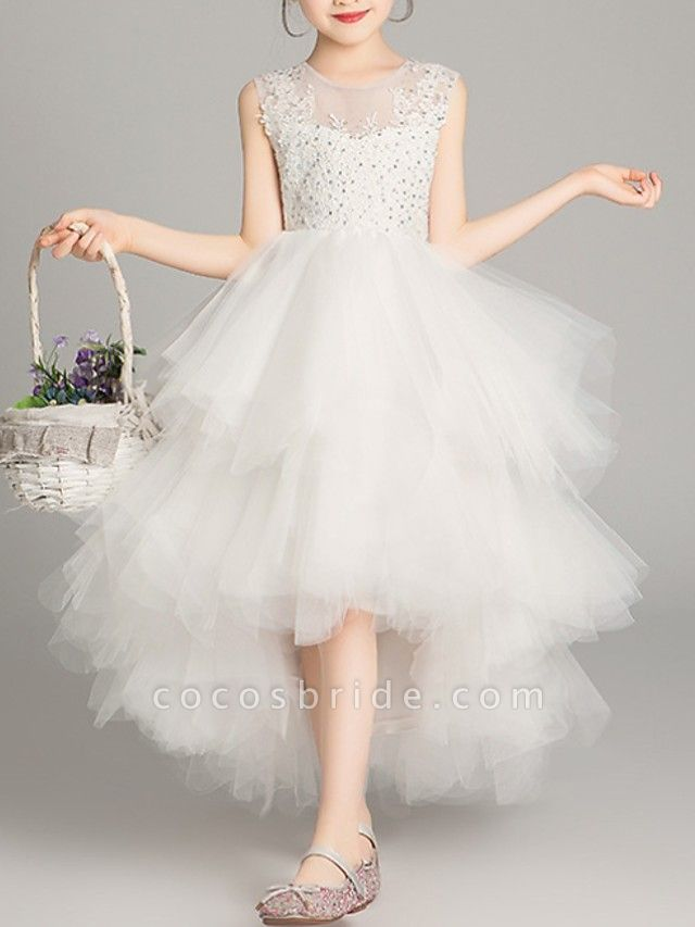 A-Line Asymmetrical Pageant Flower Girl Dresses - Tulle Sleeveless Jewel Neck With Tier / Appliques / Crystals / Rhinestones