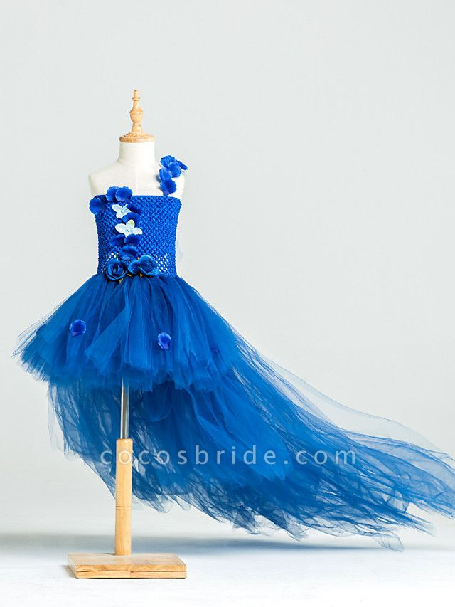 Ball Gown Asymmetrical Pageant Flower Girl Dresses - Tulle / Stretch Satin / Polyester Sleeveless One Shoulder With Flower