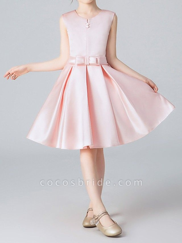 A-Line Knee Length Pageant Flower Girl Dresses - Polyester Sleeveless Jewel Neck With Pleats