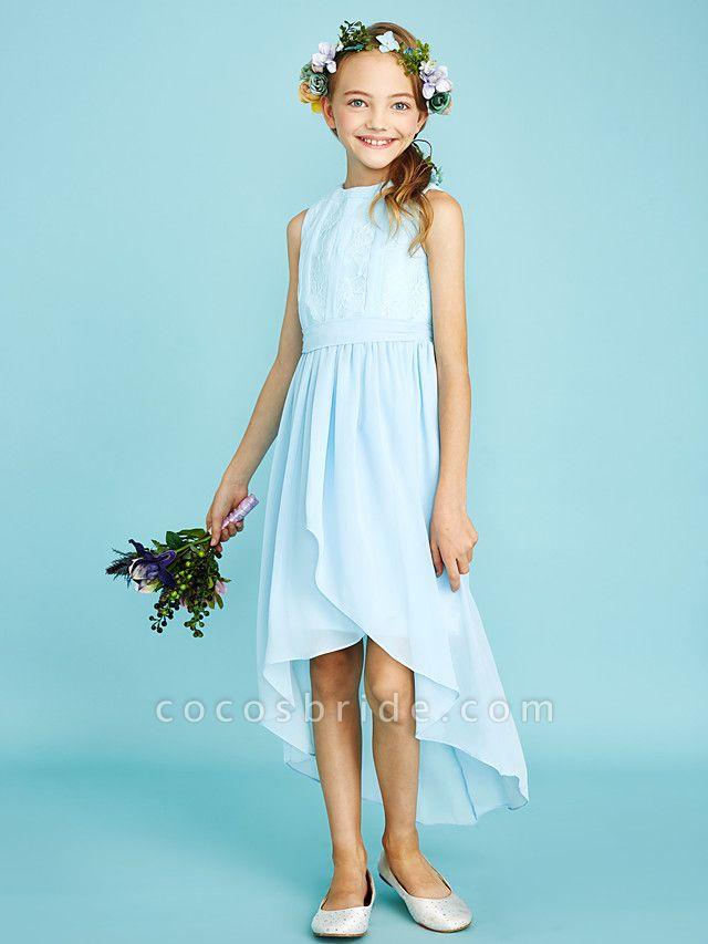 Sheath / Column Jewel Neck Asymmetrical Chiffon / Lace Junior Bridesmaid Dress With Pleats / Natural