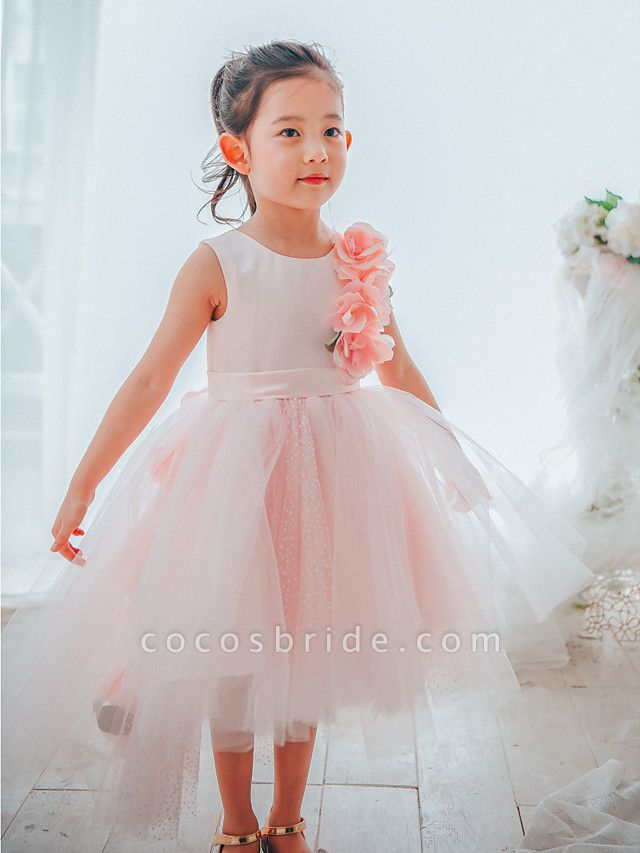 Ball Gown Asymmetrical Wedding / Birthday / Pageant Flower Girl Dresses - Satin / Tulle Sleeveless Jewel Neck With Petal