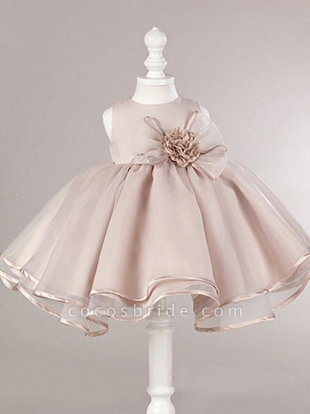 Ball Gown Knee Length Pageant Flower Girl Dresses - Polyester Sleeveless Jewel Neck With Bow(S)