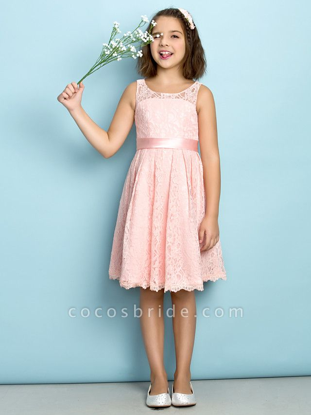 A-Line Scoop Neck Knee Length All Over Floral Lace Junior Bridesmaid Dress With Lace / Natural / Mini Me