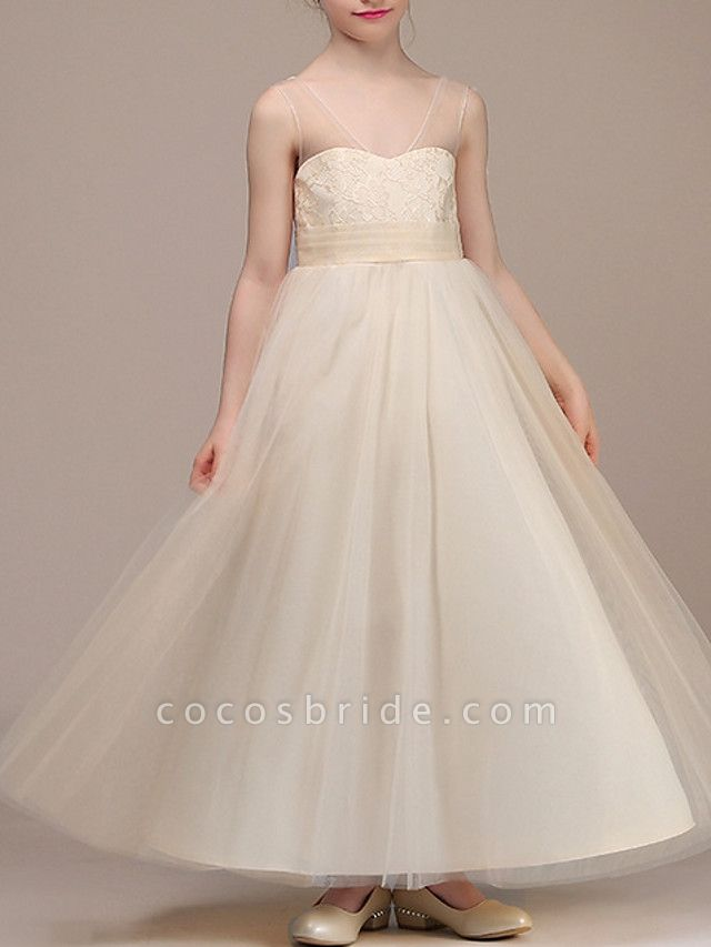 A-Line Ankle Length First Communion Flower Girl Dresses - Chiffon Sleeveless Plunging Neck With Ruching