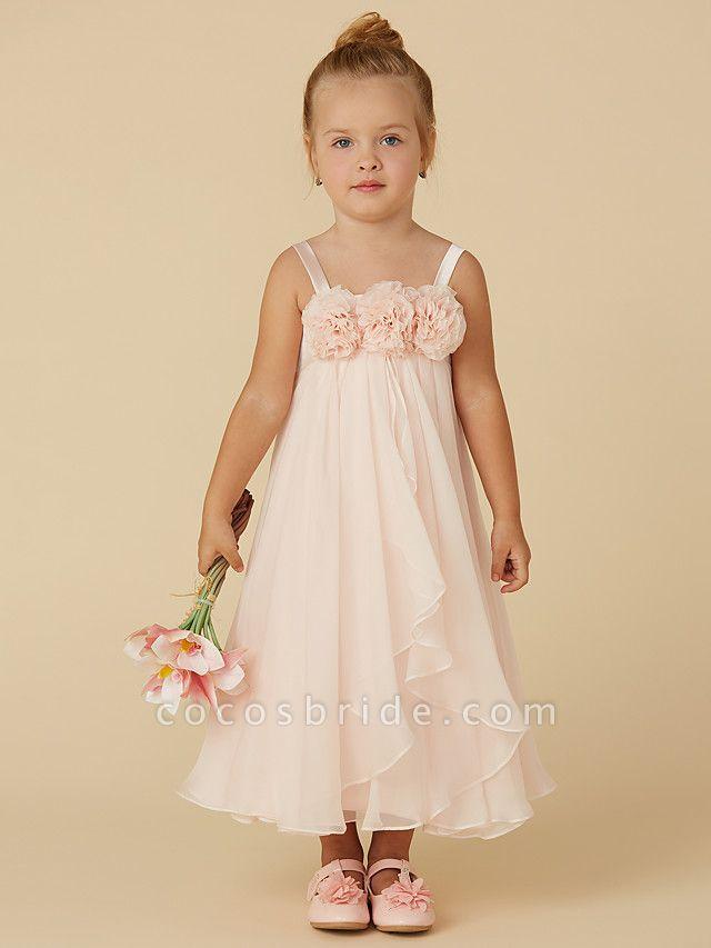 Sheath / Column Tea Length Pageant Flower Girl Dresses - Chiffon Sleeveless Straps With Flower