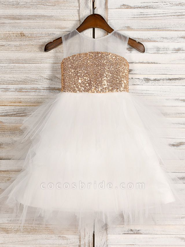 A-Line Tea Length Wedding / First Communion / Pageant Flower Girl Dresses - Tulle / Sequined Sleeveless Jewel Neck With Belt
