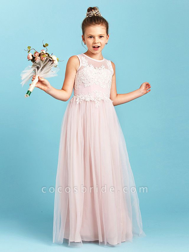 Princess / A-Line Jewel Neck Floor Length Tulle Junior Bridesmaid Dress With Pleats / Appliques / Wedding Party / See Through