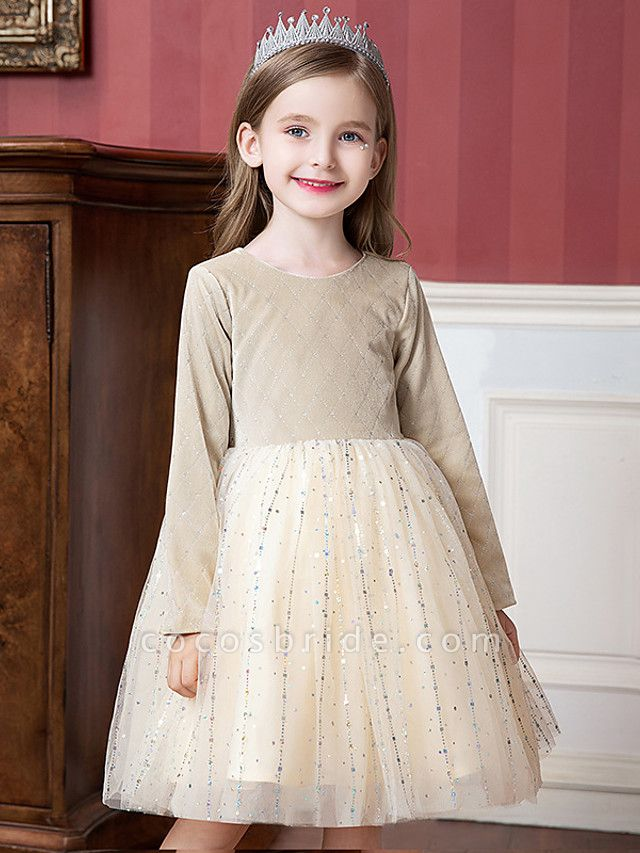 Princess / Ball Gown Knee Length Wedding / Party Flower Girl Dresses - Tulle / Velvet Long Sleeve Jewel Neck With Splicing / Paillette
