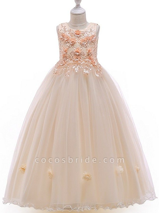 A-Line Floor Length Pageant Flower Girl Dresses - Tulle Sleeveless Jewel Neck With Bow(S) / Beading / Appliques