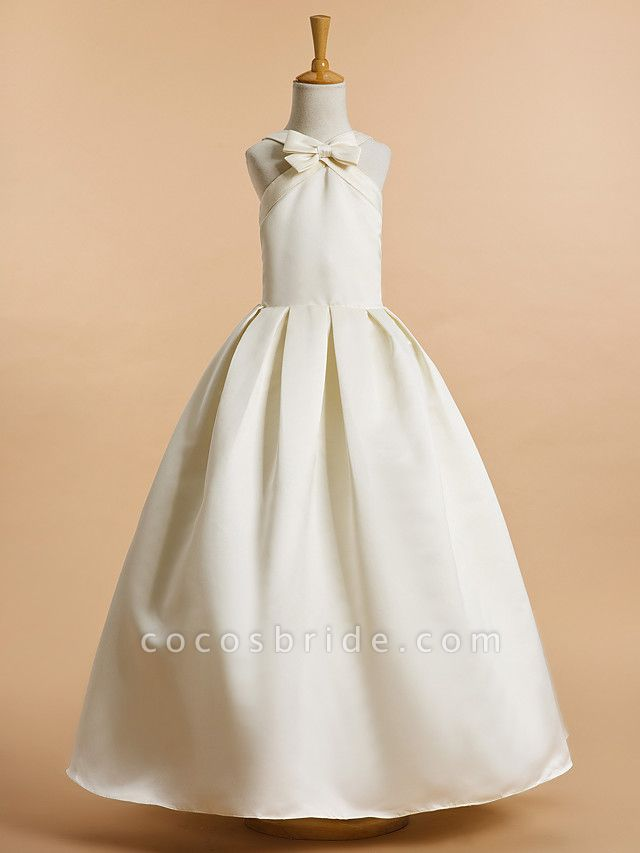 A-Line Ankle Length Wedding / First Communion Flower Girl Dresses - Satin Sleeveless V Neck With Bow(S)