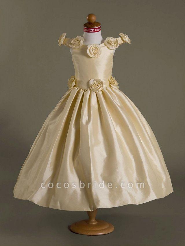 Ball Gown Off-The-Shoulder Floor-Length Taffeta Flower Girl Dress
