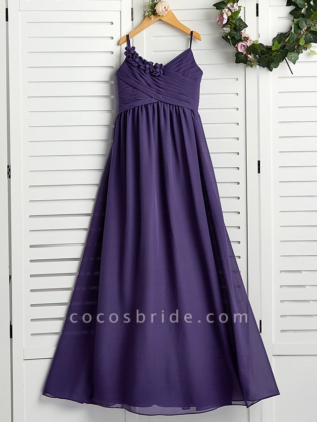 A-Line Spaghetti Strap Floor Length Chiffon Junior Bridesmaid Dress With Appliques / Ruching