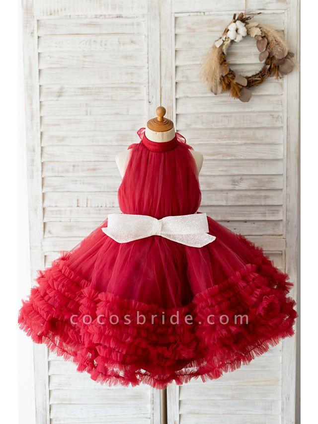 Ball Gown Knee Length Wedding / Birthday Flower Girl Dresses - Tulle Sleeveless Halter Neck / High Neck With Bow(S)