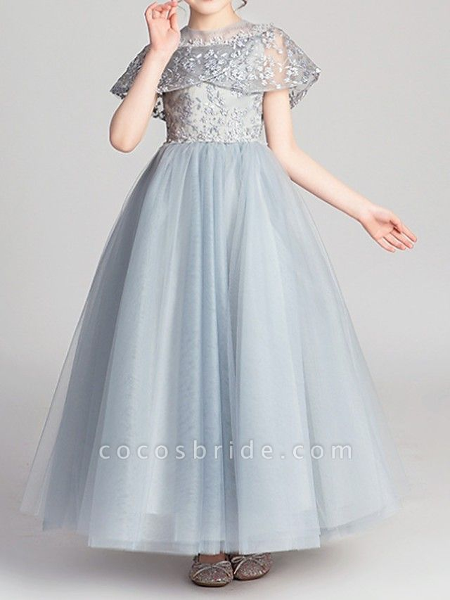 Ball Gown Ankle Length Pageant Flower Girl Dresses - Polyester Short Sleeve Jewel Neck With Appliques