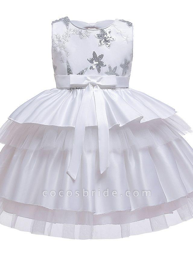 A-Line Knee Length Wedding / Birthday / Pageant Flower Girl Dresses - Cotton Blend Sleeveless Jewel Neck With Petal / Sash / Ribbon / Trim
