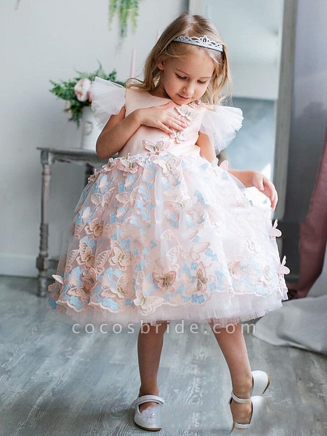 Princess / A-Line Tea Length Party / Birthday Flower Girl Dresses - Satin Short Sleeve Jewel Neck With Bow(S) / Appliques / Splicing