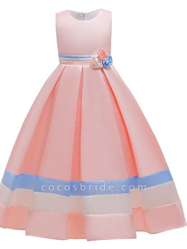 A-Line Round Floor Length Cotton Junior Bridesmaid Dress With Bow(S) / Ruching