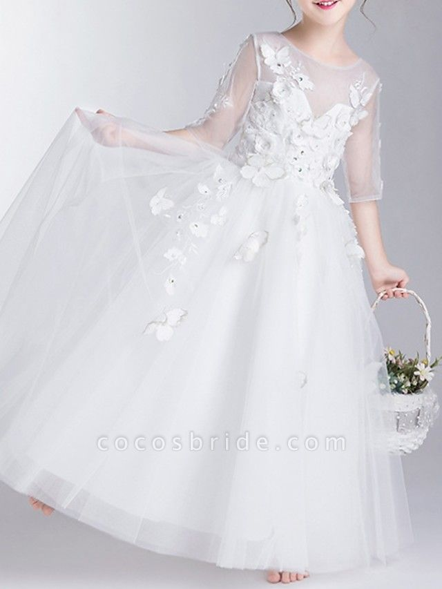 Ball Gown Floor Length First Communion Flower Girl Dresses - Polyester Half Sleeve Jewel Neck With Appliques
