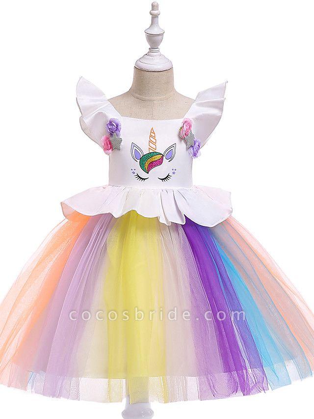 Princess Midi Party / Birthday / Pageant Flower Girl Dresses - Tulle Sleeveless Jewel Neck With Petal / Ruffles / Pattern / Print