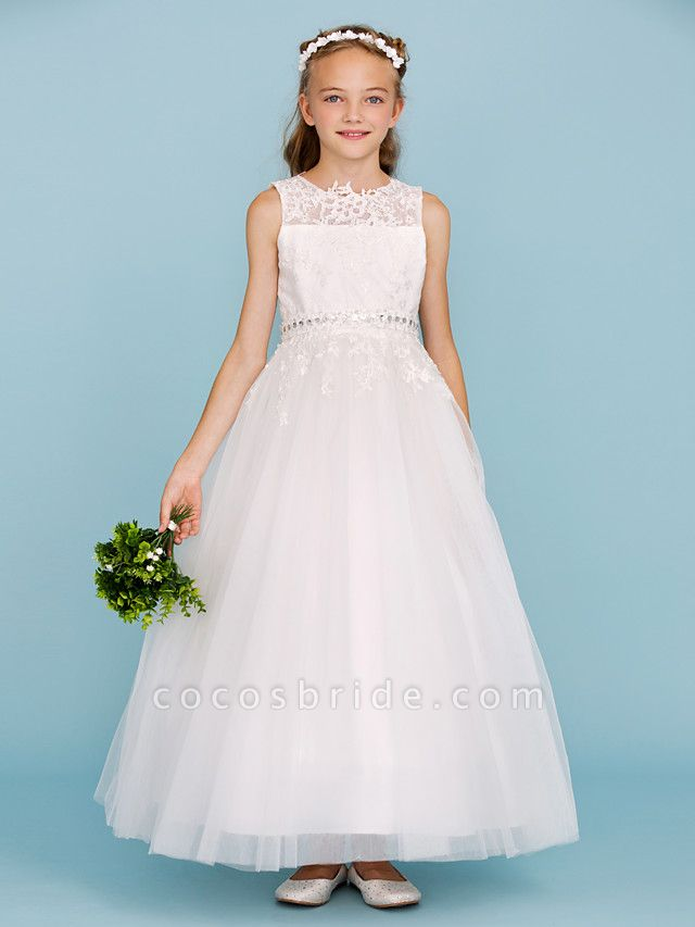 Ball Gown Crew Neck Ankle Length Lace / Tulle Junior Bridesmaid Dress With Sash / Ribbon / Beading / Appliques / Wedding Party