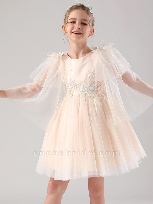 Princess / Ball Gown Royal Length Train / Medium Length Event / Party / Birthday Flower Girl Dresses - Satin / Tulle 3/4 Length Sleeve Jewel Neck With Feathers / Fur / Appliques / Butterfly