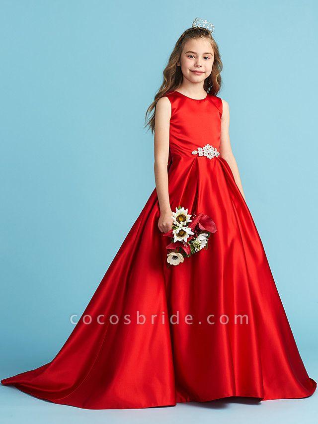 Princess / A-Line Jewel Neck Floor Length Satin Junior Bridesmaid Dress With Bow(S) / Pleats / Crystals