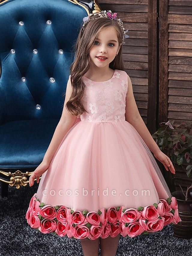 Princess / Ball Gown Knee Length Wedding / Party Flower Girl Dresses - Tulle Sleeveless Jewel Neck With Bow(S) / Pattern / Print / Flower