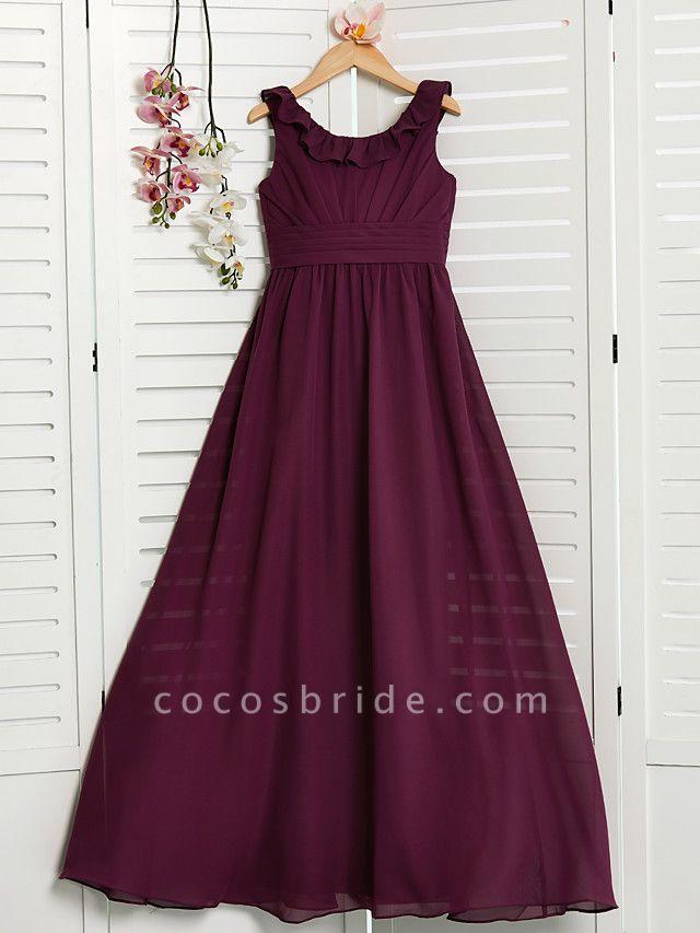 A-Line Jewel Neck Floor Length Chiffon Junior Bridesmaid Dress With Ruffles / Ruching