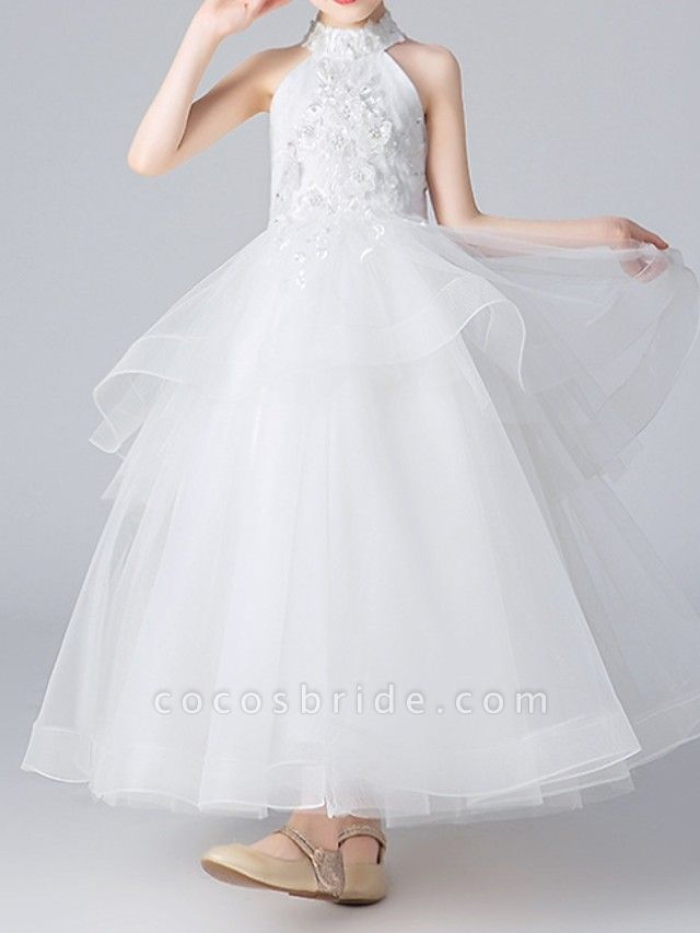 Ball Gown Floor Length Pageant Flower Girl Dresses - Polyester Sleeveless Halter Neck With Appliques