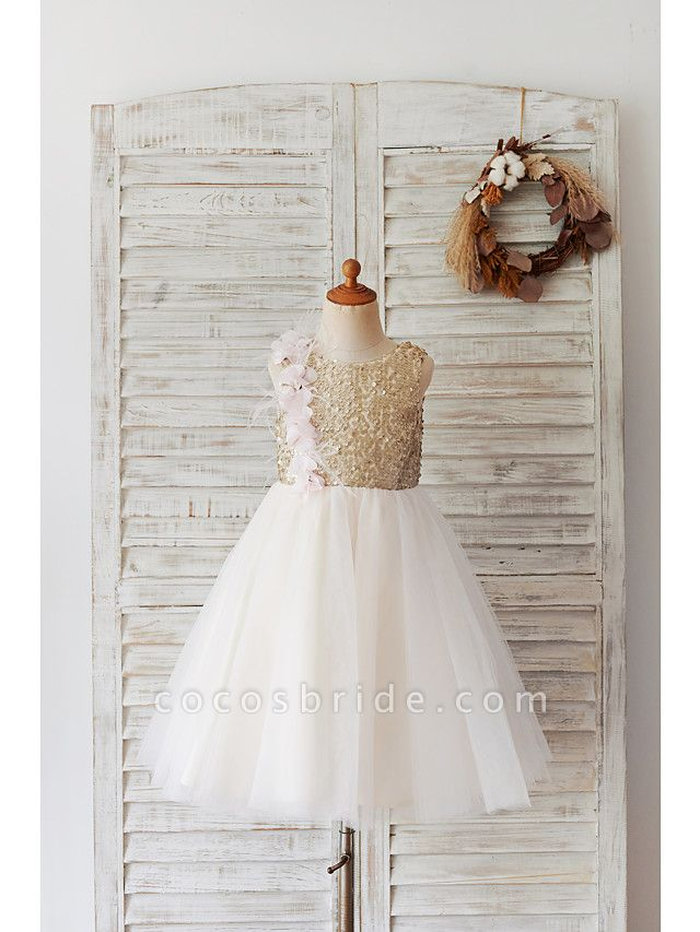 Ball Gown Knee Length Wedding / Birthday Flower Girl Dresses - Tulle / Sequined Sleeveless Jewel Neck With Feathers / Fur / Flower