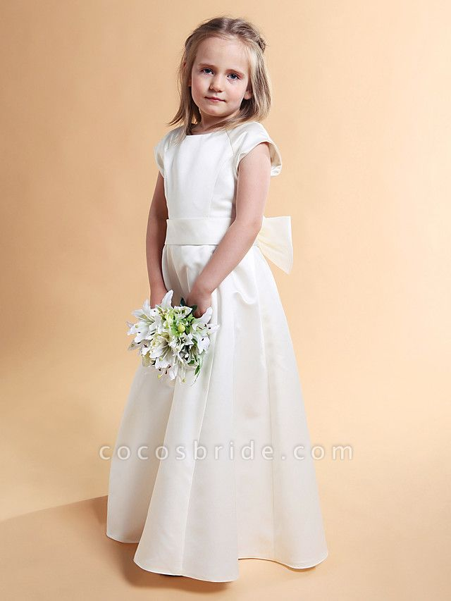 Princess / A-Line Floor Length First Communion / Wedding Party Satin Short Sleeve Jewel Neck With Sash / Ribbon / Bow(S) / Spring / Summer / Fall / Winter