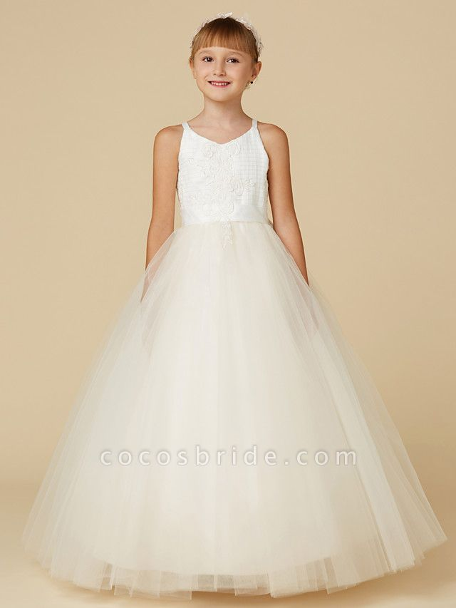 Princess Floor Length Wedding / First Communion / Pageant Flower Girl Dresses - Lace / Tulle Sleeveless Spaghetti Strap With Bow(S) / Appliques