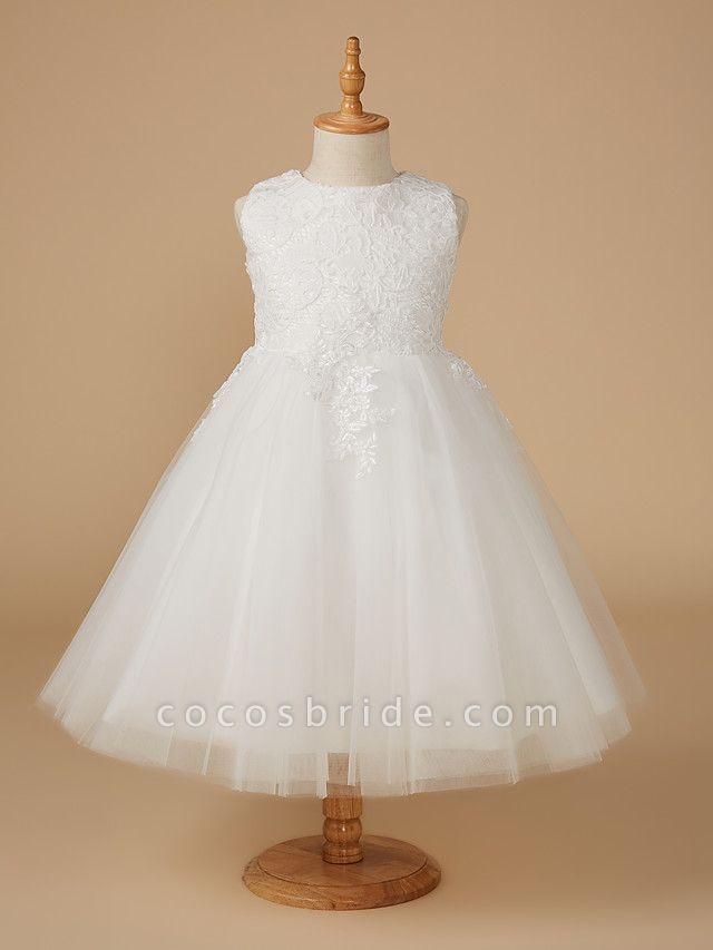 Ball Gown Knee Length Wedding / First Communion Flower Girl Dresses - Lace / Tulle Sleeveless Jewel Neck With Appliques