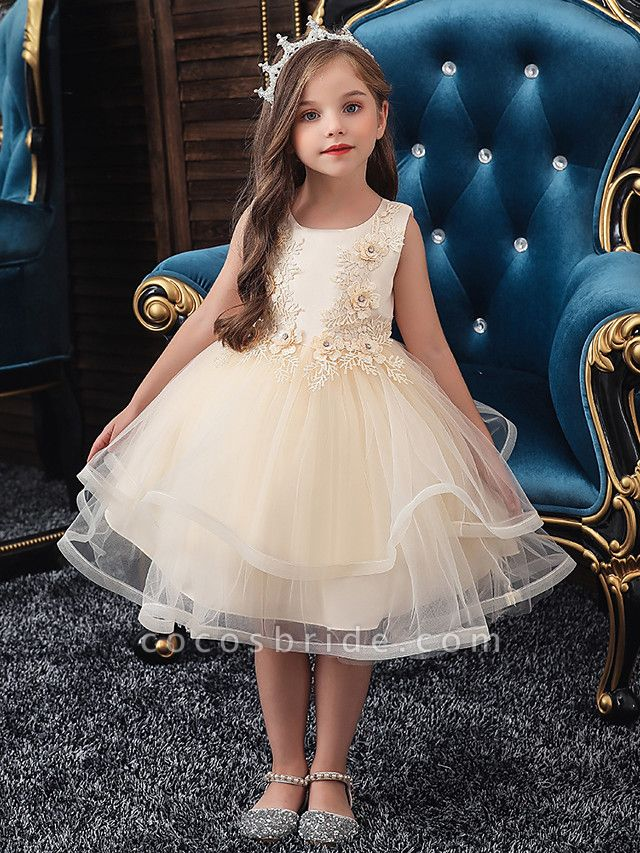 A-Line Knee Length Wedding / Party / Pageant Flower Girl Dresses - Tulle / Matte Satin / Poly&Cotton Blend Sleeveless Jewel Neck With Beading / Solid