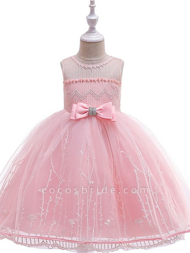 Ball Gown Floor Length Wedding / Party Flower Girl Dresses - Lace / Tulle Sleeveless Jewel Neck With Bow(S) / Embroidery