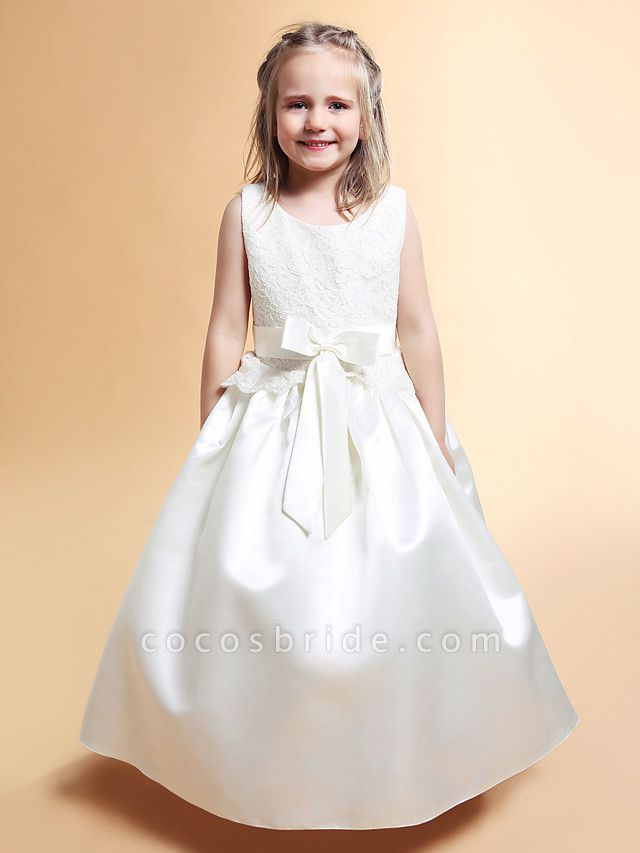Princess / A-Line Floor Length Wedding / First Communion Flower Girl Dresses - Lace / Satin Sleeveless Scoop Neck With Lace / Sash / Ribbon / Bow(S) / Spring / Summer / Fall / Winter