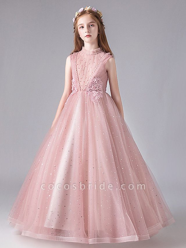 Princess / Ball Gown Floor Length Wedding / Party Flower Girl Dresses - Tulle / Polyester / Cotton Blend 3/4 Length Sleeve Jewel Neck With Appliques / Tiered