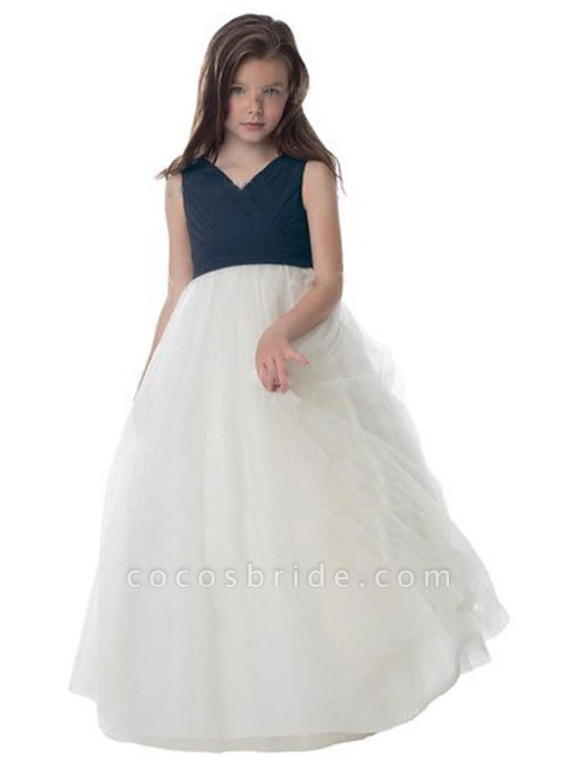 A-Line Floor Length Wedding / Party Flower Girl Dresses - Chiffon / Tulle Sleeveless V Neck With Ruching