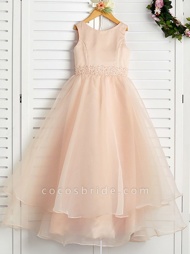 A-Line Jewel Neck Ankle Length Organza / Satin Junior Bridesmaid Dress With Beading / Tier