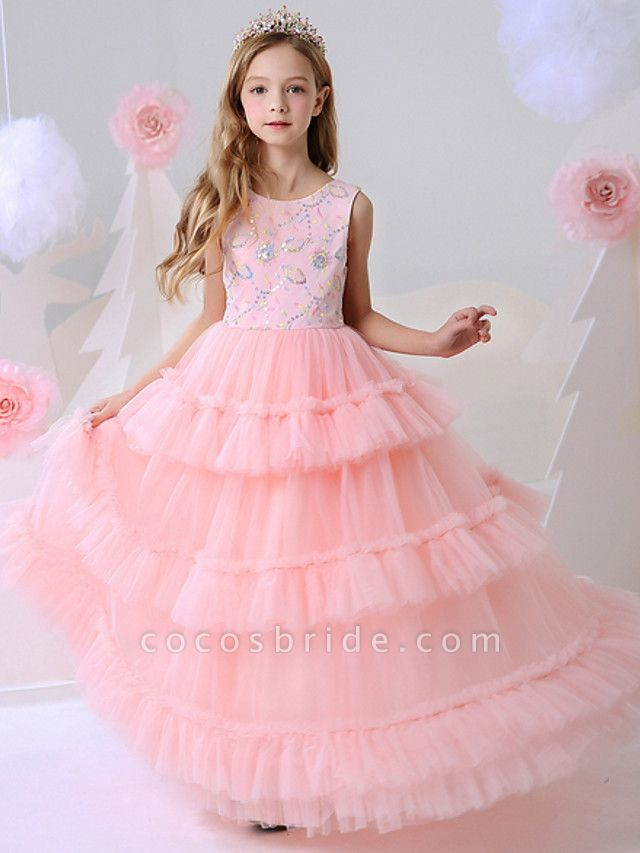 Ball Gown Floor Length Party / Birthday Flower Girl Dresses - Polyester Sleeveless Jewel Neck With Beading