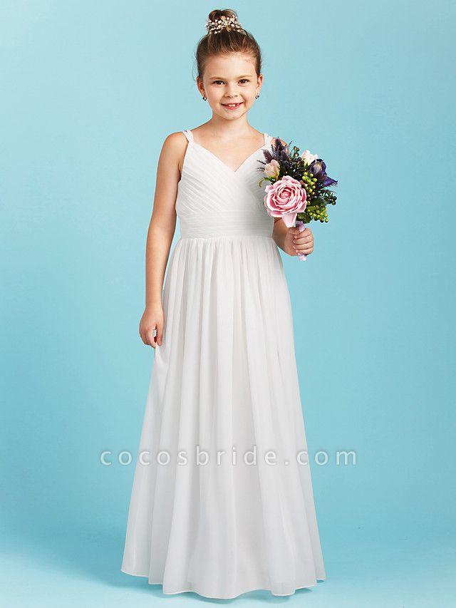 Princess / A-Line Spaghetti Strap Floor Length Chiffon Junior Bridesmaid Dress With Sash / Ribbon / Criss Cross / Wedding Party / Open Back