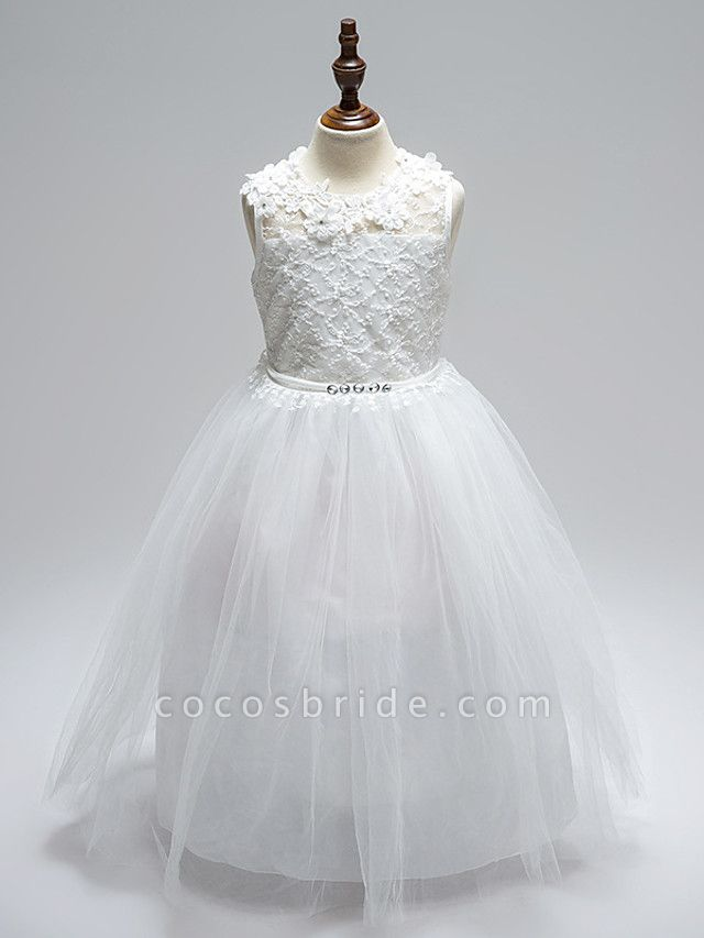 Ball Gown Floor Length Wedding / First Communion Flower Girl Dresses - Lace / Tulle Sleeveless Jewel Neck With Sash / Ribbon / Bow(S) / Appliques / Open Back